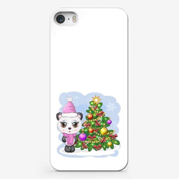 Чехол iPhone «Панда с новогодней елочкой, новый год»