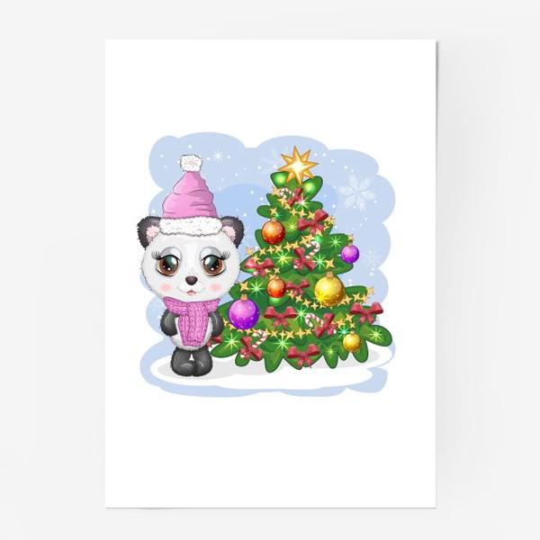 Постер «Панда с новогодней елочкой, новый год»