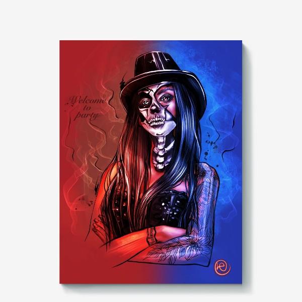 Холст «Зловещий макияж. Fashion.  Хеллоуин. День всех святых. Пятница 13ое.»