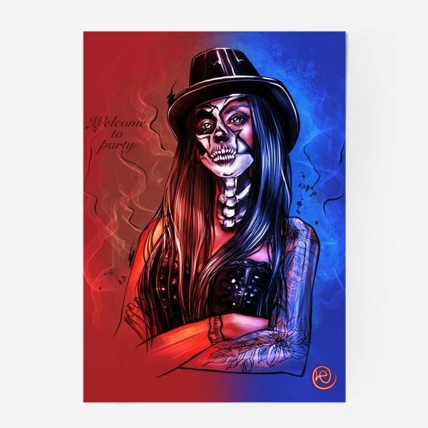 Постер «Зловещий макияж. Fashion.  Хеллоуин. День всех святых. Пятница 13ое.»