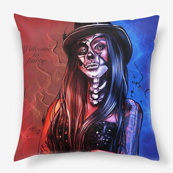 Подушка «Зловещий макияж. Fashion.  Хеллоуин. День всех святых. Пятница 13ое.»