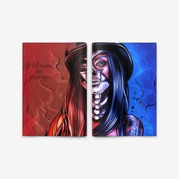 Обложка для паспорта «Зловещий макияж. Fashion.  Хеллоуин. День всех святых. Пятница 13ое.»