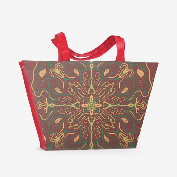 Пляжная сумка «Паттерн .Абстракция на коричневом фоне »