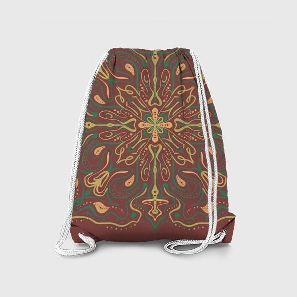 Рюкзак «Паттерн .Абстракция на коричневом фоне »
