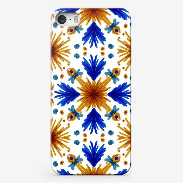 Чехол iPhone «Паттерн.Сине-оранжевые цветы »