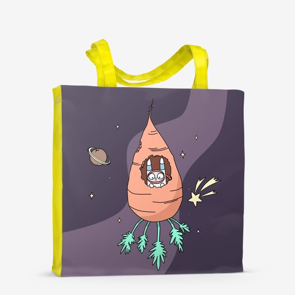 Сумка-шоппер «Заяц летит в космос на морковной ракете»
