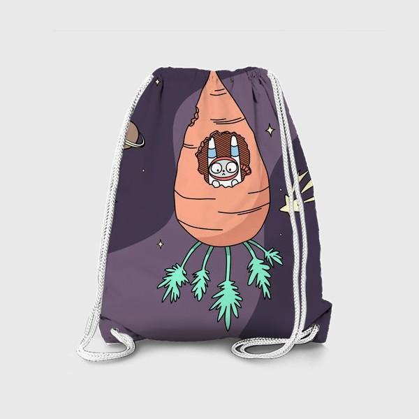 Рюкзак «Заяц летит в космос на морковной ракете»