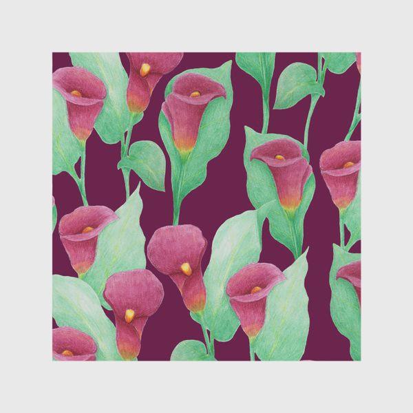 Скатерть «Каллы на темно-вишневом фоне»