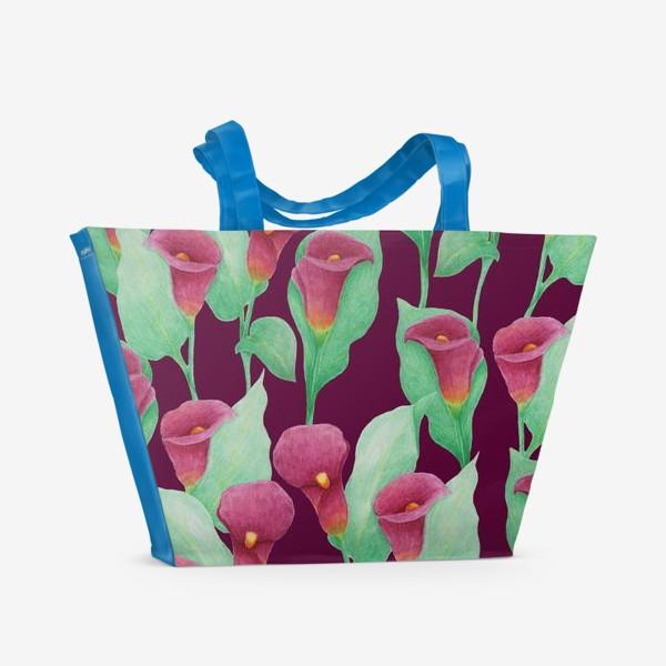 Пляжная сумка «Каллы на темно-вишневом фоне»