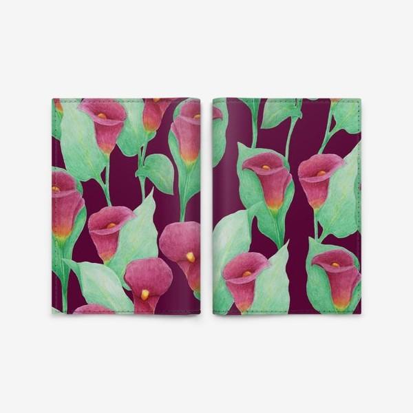 Обложка для паспорта «Каллы на темно-вишневом фоне»