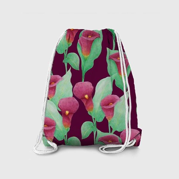 Рюкзак «Каллы на темно-вишневом фоне»