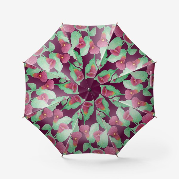 Зонт «Каллы на темно-вишневом фоне»