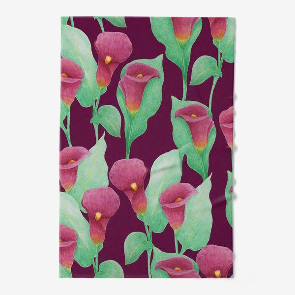 Полотенце «Каллы на темно-вишневом фоне»