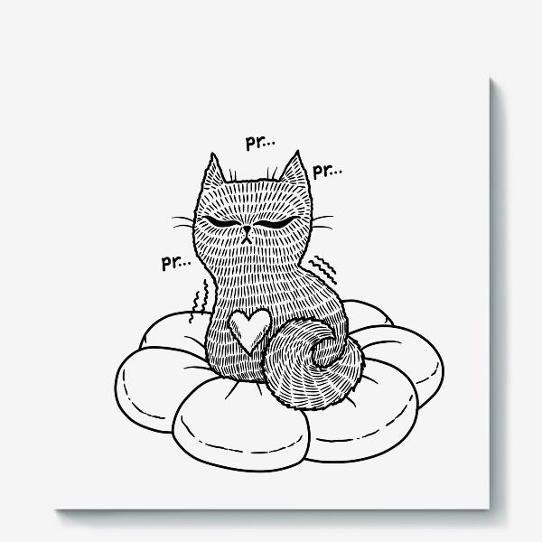 Холст «Котик на подушке (черно-белый)»
