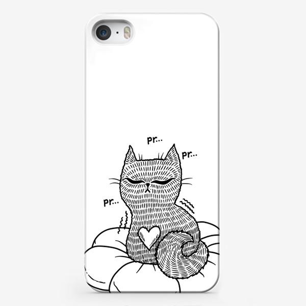 Чехол iPhone «Котик на подушке (черно-белый)»