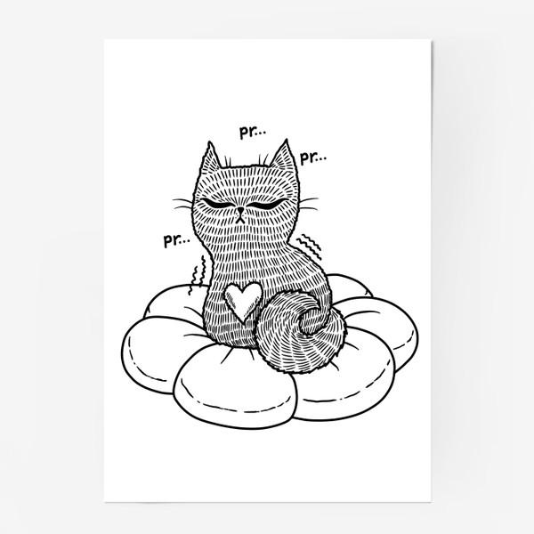 Постер «Котик на подушке (черно-белый)»