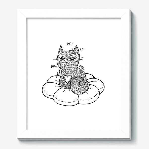 Картина «Котик на подушке (черно-белый)»