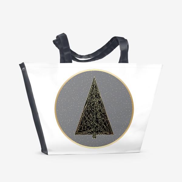 Пляжная сумка «Елка черная в круге»