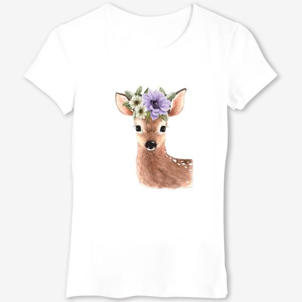 Футболка «акварельная иллюстрация милого оленя с  букетом цветов на голове »