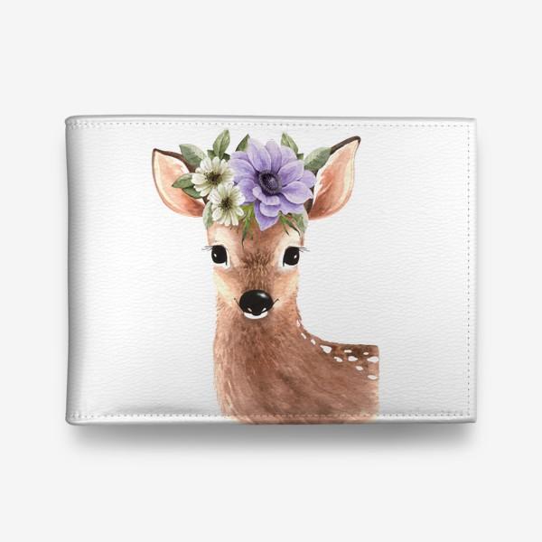 Кошелек «акварельная иллюстрация милого оленя с  букетом цветов на голове »