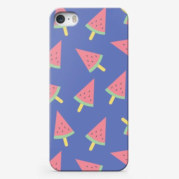 Чехол iPhone «Арбузное мороженое на фиолетовом »