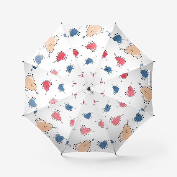 Зонт «Сердца со стрелами.Паттерн »