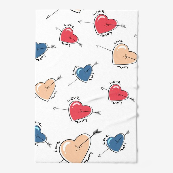 Полотенце «Сердца со стрелами.Паттерн »