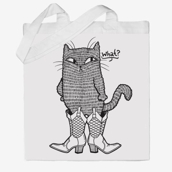 Сумка хб «Кот в сапогах (черно-белый)»