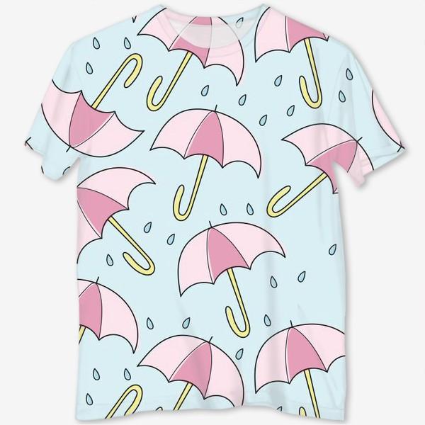Футболка с полной запечаткой «Паттерн - Дождь и зонтики»