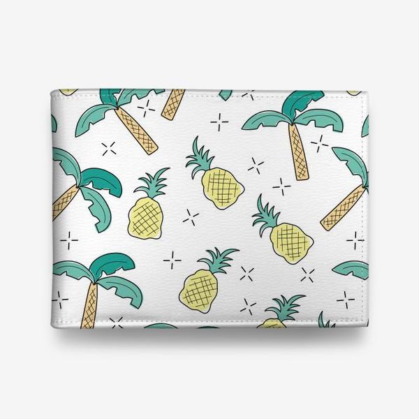 Кошелек «Пальмы и ананасы на белом»