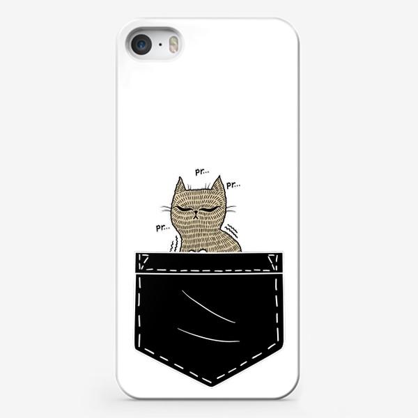 Чехол iPhone «Котик в черном кармане»