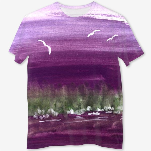Футболка с полной запечаткой «Фиолетовый пейзаж»