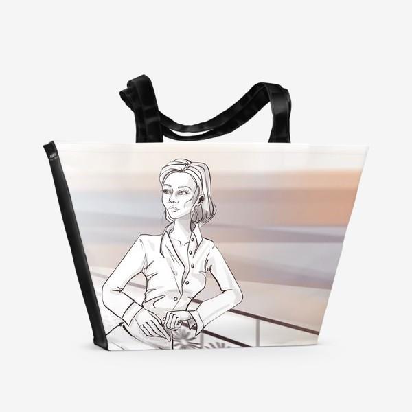 Пляжная сумка «Деловая девушка в городе»