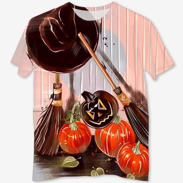 Футболка с полной запечаткой «Летающая метла. Хеллоуин. День всех святых. Пятница 13ое.»