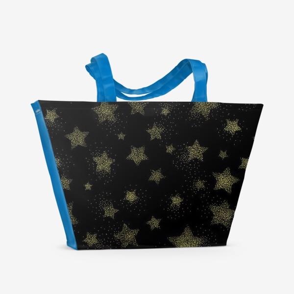 Пляжная сумка «Звёзды на черном фоне»