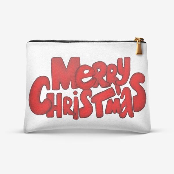 Косметичка «Леттеринг - надпись Счастливого рождества»