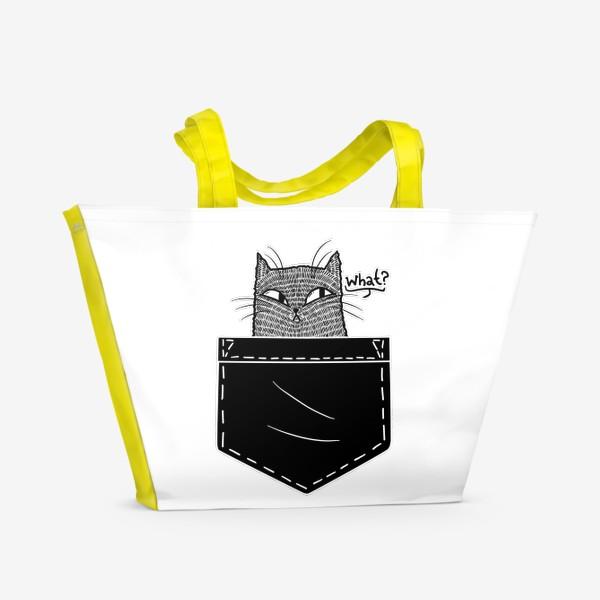 Пляжная сумка «Кот в черном кармане»