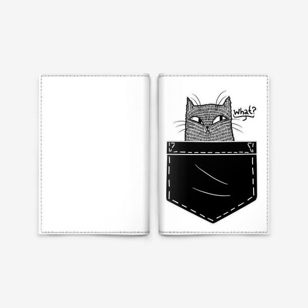 Обложка для паспорта «Кот в черном кармане»