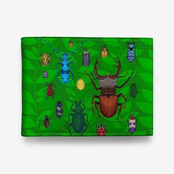 Кошелек «Паттерн насекомые. Жуки маленькие и большие. Жук Олень, Колорадский Жук, Божья Коровка, Усач, Жужелица»
