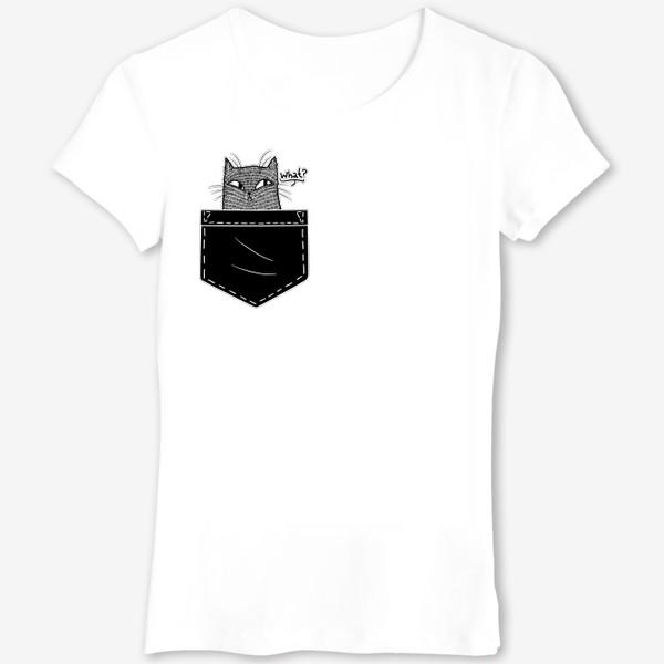 Футболка «Кот в черном кармане»