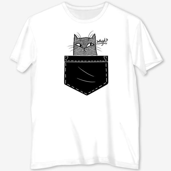 Футболка с полной запечаткой «Кот в черном кармане»