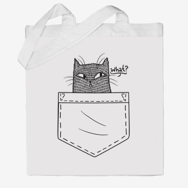 Сумка хб «Кот в белом кармане»