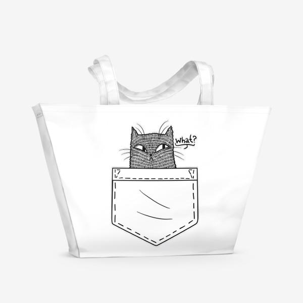 Пляжная сумка «Кот в белом кармане»