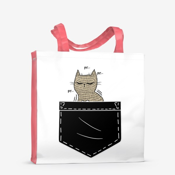 Сумка-шоппер «Котик в черном кармане»