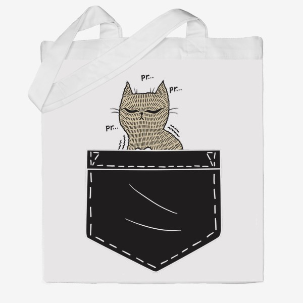 Сумка хб «Котик в черном кармане»