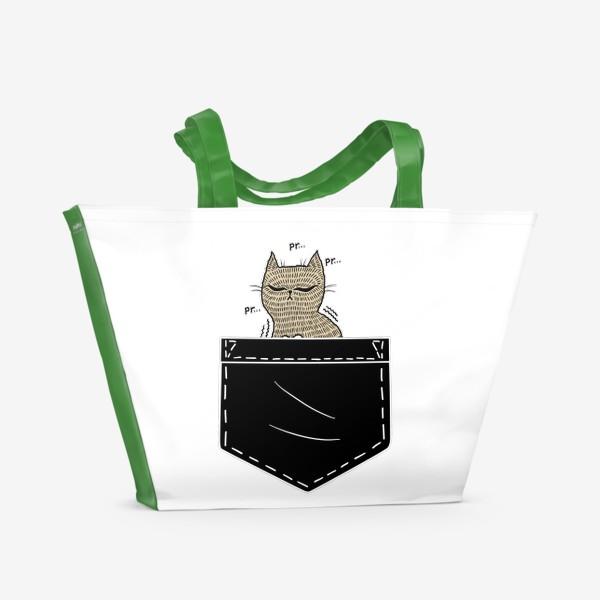Пляжная сумка «Котик в черном кармане»