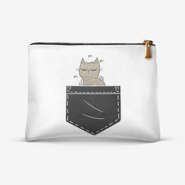 Косметичка «Котик в черном кармане»