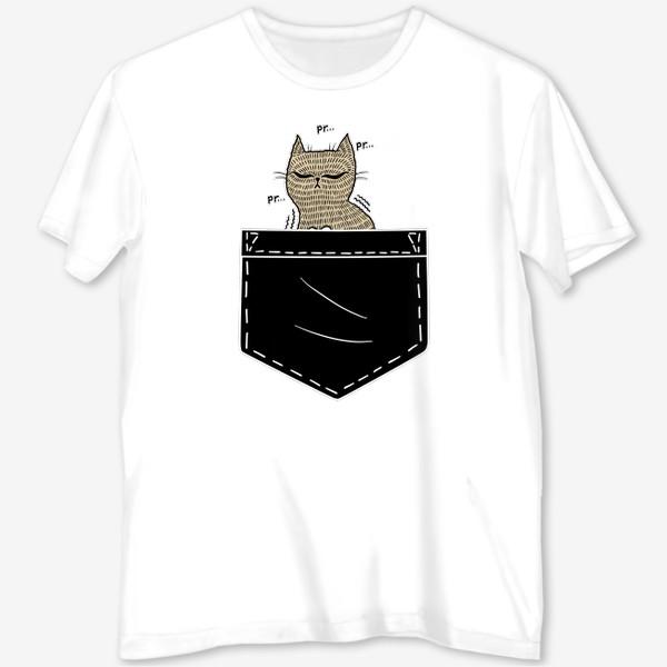 Футболка с полной запечаткой «Котик в черном кармане»
