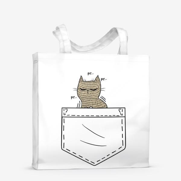 Сумка-шоппер «Котик в белом кармане»