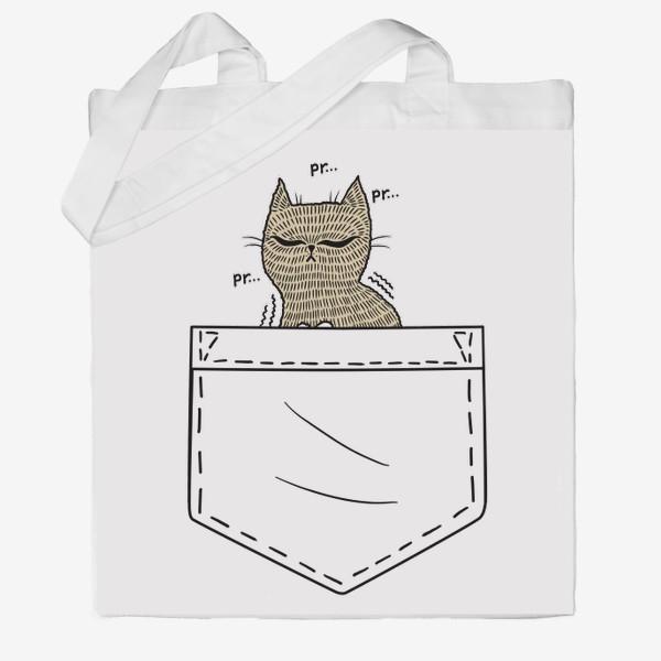 Сумка хб «Котик в белом кармане»